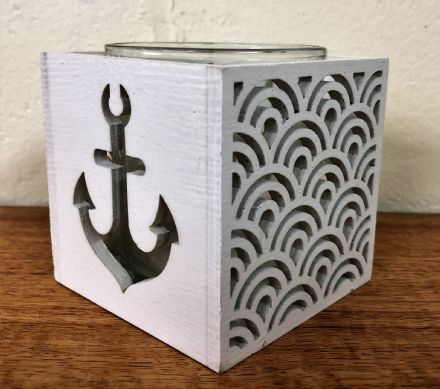White Anchor Wooden Coastal Square Box Tea Light Holder